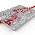 Red arrow going through the maze — Stock Photo