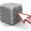 Arrow point on cube maze — Stock Photo
