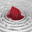 3d house in the centre of labyrinth — Stock Photo