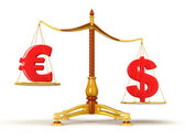 Dollar überwiegt euro auf skalen — Stockfoto
