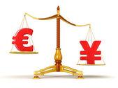 Lo yen supera euro — Foto Stock