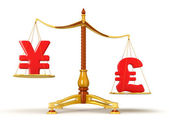 Pound sterling outweeghts Yen — Stock Photo