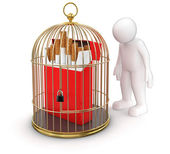 Gold Cage with Cigarette Pack and Man — Foto Stock