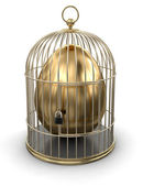 Gold Cage with Egg — Stock Photo