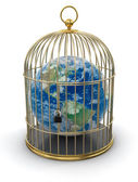 Gold Cage with Globe — Stock Photo
