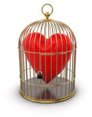 Gold Cage with Heart — Stock Photo