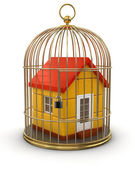 Gold Cage with House — Stock Photo