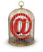 Gold Cage with E-Mail — Stock Photo