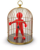 Gold Cage with Man — Stock Photo