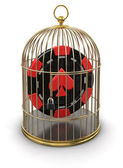 Gold Cage with Casino chip — Stock Photo