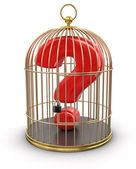 Gold Cage with Quest — Stock Photo