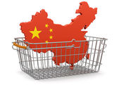 Shopping Basket and China map — Stock Photo