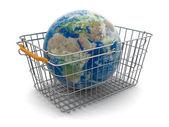 Shopping Basket and Globe — Stock Photo