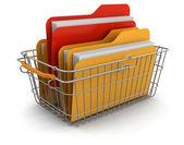 Shopping Basket and folders Keywords: — Stock Photo