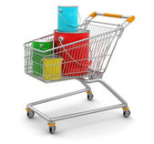 Shopping Cart and Cans of paint — Stock Photo
