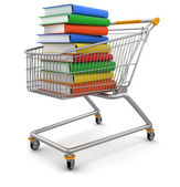 Shoping cart with books — Stock Photo