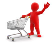 Man and Shopping Cart — Stock Photo