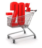 Shopping Cart and -20 percents — Stock Photo