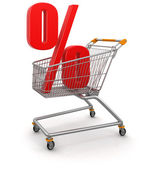 Shopping Cart and - percents — Stock Photo