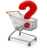 Shopping Cart and quetion mark — Stock Photo