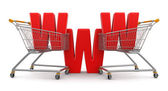 Shopping cart and online shopping — Stock Photo
