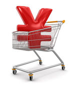 Shopping Cart with Yen — Stock Photo