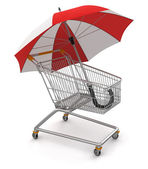 Shopping Cart with Umbrella — Stock Photo