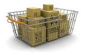 Varukorg och paket — Stockfoto