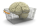 Shopping Basket and brain — Stock Photo