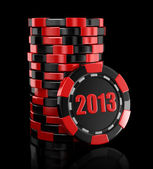 Casino chip stacks with 2013 year — Zdjęcie stockowe