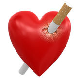Heart with Cigarette — Stock Photo