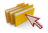 Folders with files and cursor — Stock Photo