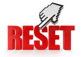 Red reset and hand cursor — Stock Photo
