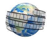 Film Strip and globe — Stock Photo