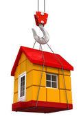 Crane raises House — Stock Photo