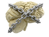 Human brain and lock — Stock Photo