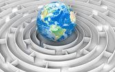 Globe in a maze — Stockfoto