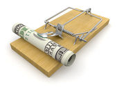 Hundred dollars in a mousetrap — Stock Photo