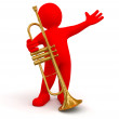 Man and trumpet — Stock Photo