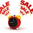 Sale time on alarm clock — Stock Photo