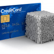 Cube maze and Credit Card — Stock Photo