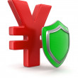 Yen Sign and Shield — Stock Photo