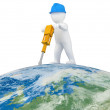 World Worker with jackhammer — Stock Photo