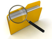 3D Folder with Magnifying Glass — Stock Photo