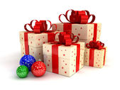 Gift boxes and Christmas balls — Стоковое фото