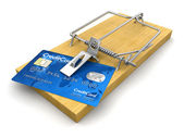 Mousetrap with Credit Card — Stock Photo