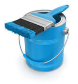 Paint can with brush — Stock Photo