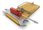Mousetrap and Tools — Stock Photo