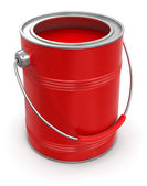 Can with red paint — Stockfoto