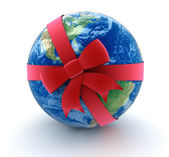 Globe world gift bow concept — Stock Photo